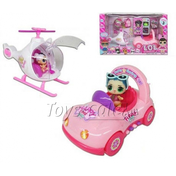 Набор Вертолет и Машинка ЛОЛ + куколка (LOL Surprise Car + Helicopter)