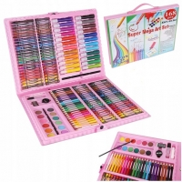Набор для рисования в пластиковом чемоданчике Super Mega Art Set 168 предметов розовый