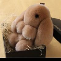 Брелок кролик из натурального меха 18 см (Кофейный)