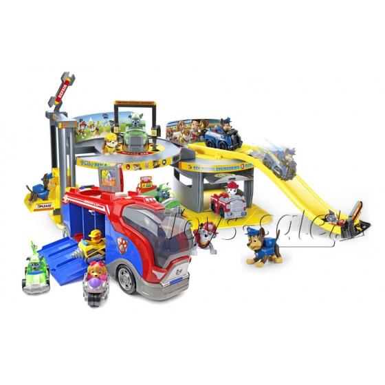 Набор игрушек Щенячий Патруль (Paw Patrol) - Инженерный департамент + Автобус спасателей