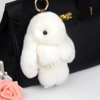 Брелок кролик из натурального меха 18 см (Белый)