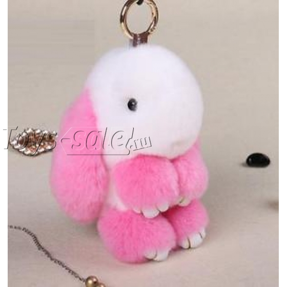 Брелок кролик из натурального меха 18 см (Бело-розовый)
