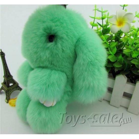 Брелок кролик из натурального меха 18 см (Зеленый)