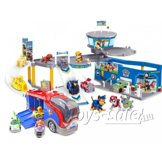Набор игрушек Щенячий Патруль - Полицейская станция + Автобус спасателей
