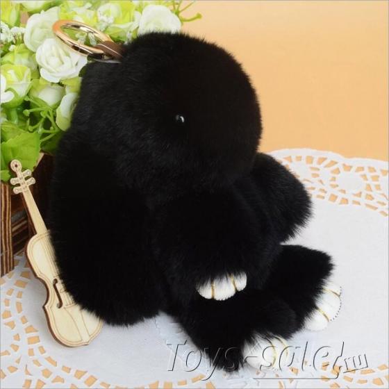 Брелок кролик из натурального меха 18 см (Черный)
