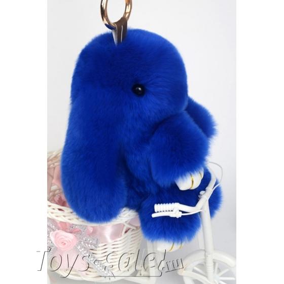 Брелок кролик из натурального меха 18 см (Синий)