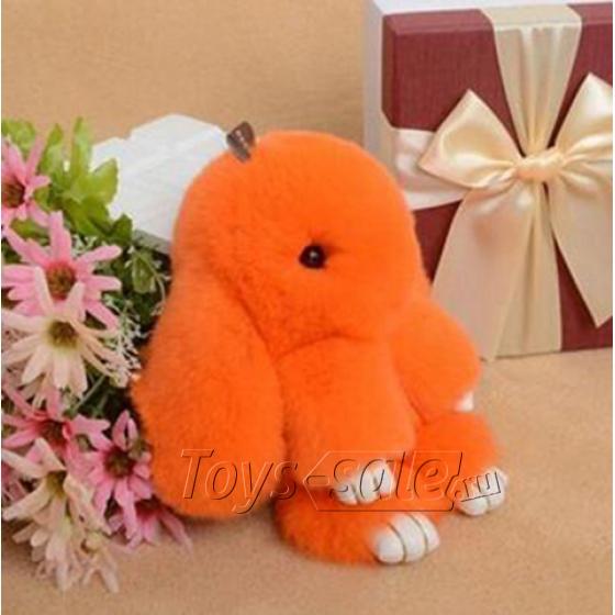 Брелок кролик из натурального меха 18 см (Оранжевый)