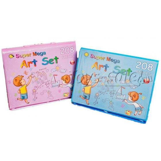 Набор художника 208 предметов с мольбертом для детей синий