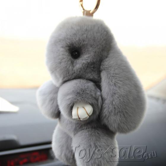 Брелок кролик из натурального меха 18 см (Серый)