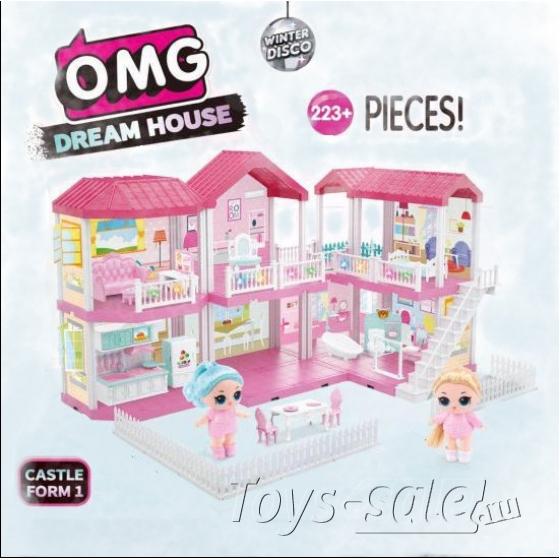 Большой загородный домик куколок ЛОЛ 2 этажа, дворик и терраса (O.M.G Dream House)