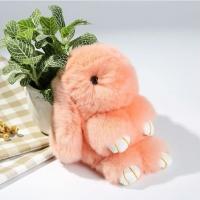 Брелок кролик из натурального меха 18 см (Персиковый)