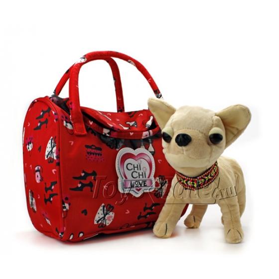 Мягкая собачка Чи-Чи Лав Чихуахуа с цветным ошейником и сумочкой (20 см)