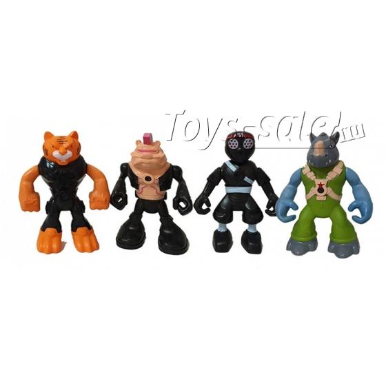 Набор 4 функциональных фигуроки Тигриный Коготь, Бибоп, Рокстеди, Ниндзя клана (Черепашки ниндзя)