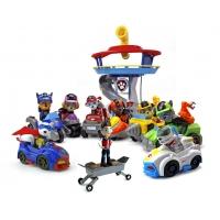 Набор игрушек Щенячий патруль - 9 героев с рюкзаками-трансформерами и большими машинками + Офис