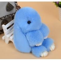 Брелок кролик из натурального меха 18 см (Голубой)