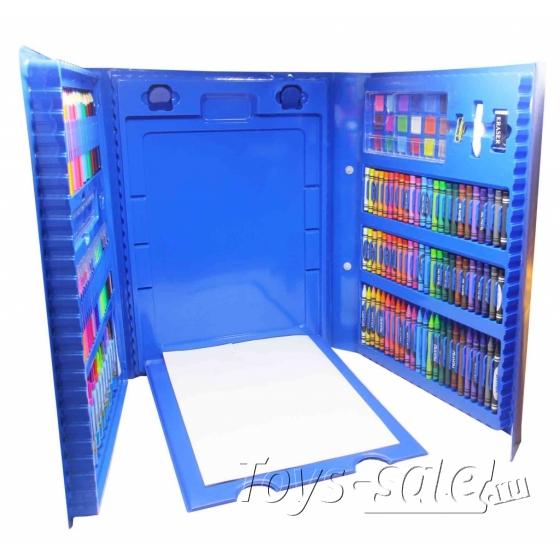 Набор для рисования 176 предметов с мольбертом для детей синий