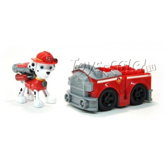 Щенячий патруль - Маршал с рюкзаком трансформером и Пожарная машинка