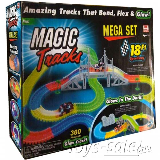 Гоночная трасса Magic Tracks 360 светящаяся Mega Set - 360 деталей + Горный тоннель