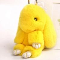 Брелок кролик из натурального меха 18 см (Желтый)