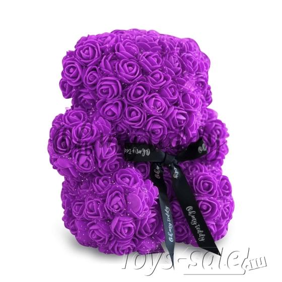 Медведь из Фиолетовых Роз 20 см