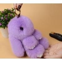 Брелок кролик из натурального меха 18 см (Сиреневый)