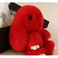 Брелок кролик из натурального меха 18 см (Красный)