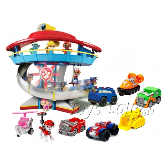 Комплект Щенячий Патруль - Большой офис спасателей + Команда из 7 героев с машинками