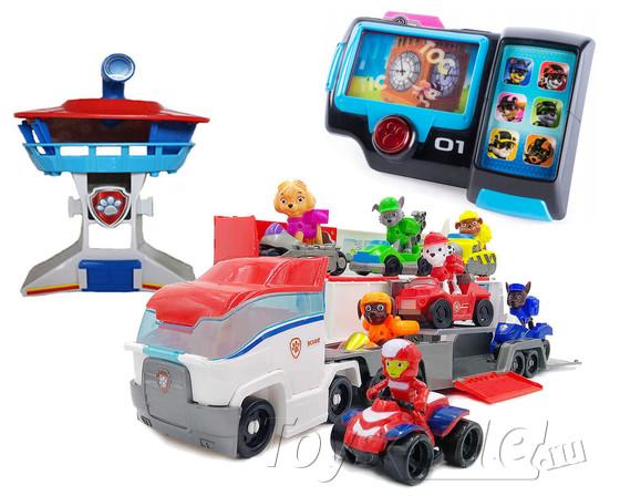 Малый автовоз Щенячий Патруль + Офис + 7 героев и наручный компьютер