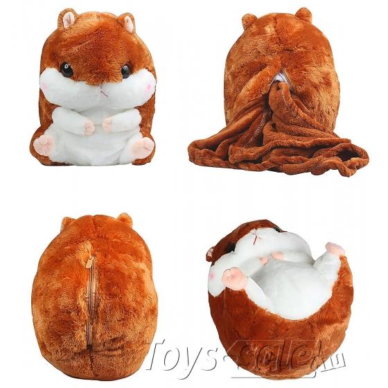 Хомяк с пледом мягкая игрушка 40 см коричневого цвета.