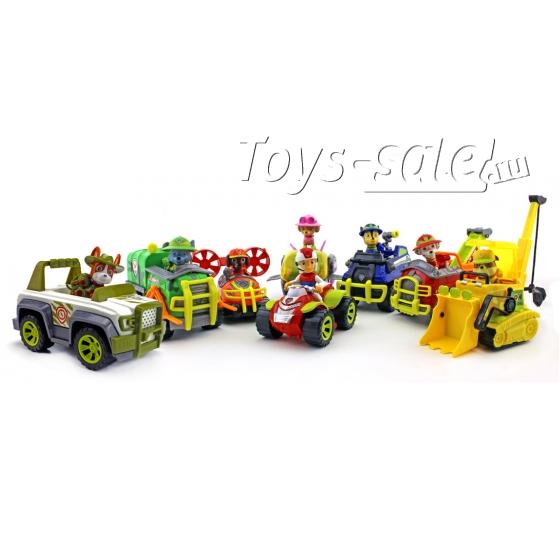 Набор игрушек Щенячий патруль - 8 героев с большими машинками