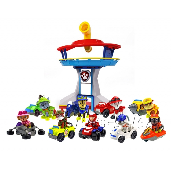 Комплект Щенячий Патруль - Офис + Команда из 9 героев с машинками