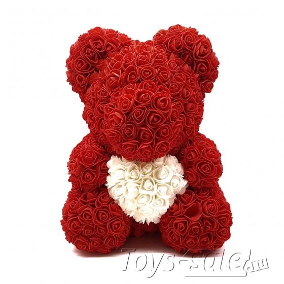 Медведь из Красных Роз с Белым Сердцем 40 см
