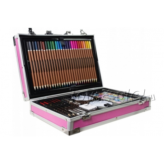 Набор художника 145 предметов в чемоданчике розовый