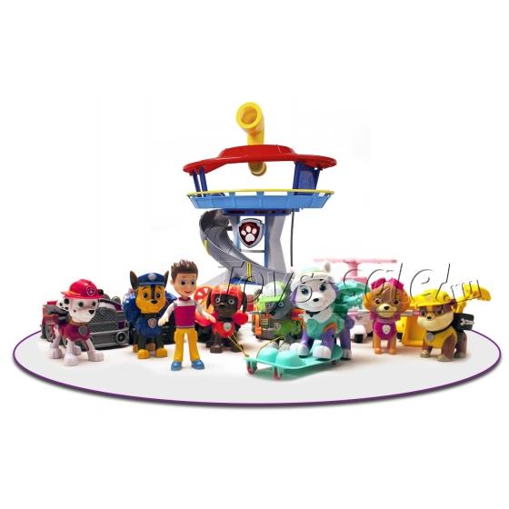 Комплект Щенячий Патруль - Большой офис спасателей + Команда из 8 героев с машинками