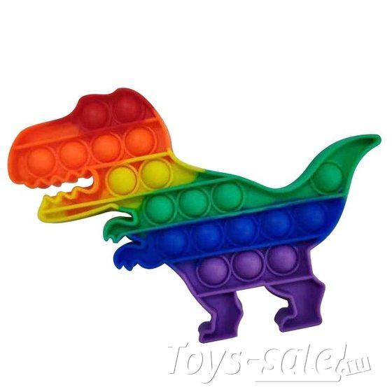 Pop it Антистресс вечная пупырка динозавр радужный