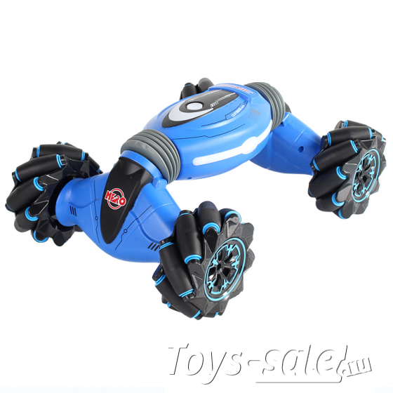 Машина-перевертыш управление жестами Stunt Double Side Синяя