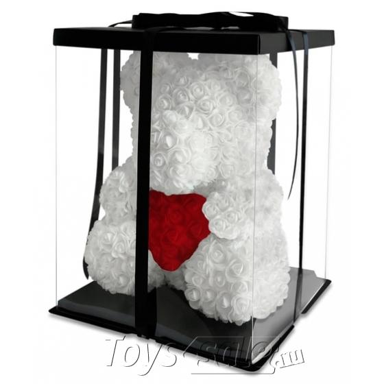 Медведь из Белых Роз с Красным Сердцем 40 см