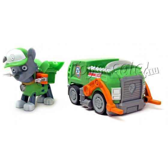 Щенячий патруль - Рокки с рюкзаком трансформером и машинка Мусоровоз