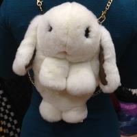 Сумка-рюкзак Кролик (Зайка) из меха цвет - белый